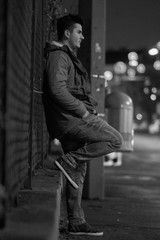 Side View Of Man Leaning Against Wall Aff View Side Man Wall Leaning Ad In 2020 Photo Stock Photos Image