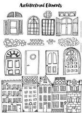Architekturideen zum Zeichnen von Städten.