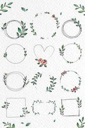 Laden Sie erstklassige Illustration der Gekritzelblumenkranz-Vektorsammlung herunter