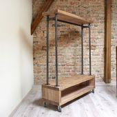 Nene Industrie Holz Metall Kleidung Schiene Rack Stand rustikale Retro Vintage