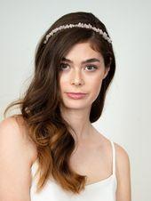 Bridal headband, hair accessories with rose quartz – Quinn