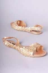 59719bc5b5ef81 DUNE LADIES NIGELLA - Ghillie Lace Up Flower Trim Flat Sandal - rose gold