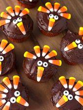 Candy Corn Turkey Thanksgiving Cupcakes sind süße Cupcakes mit Schokoladenglasur, die …