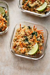 Spinach and Quinoa Vegan Meal Prep Bowls