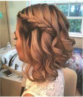 Bridesmaid Short Hairstyle Braid Wedding Prom #Short Hairstyles # Prom #Bridesmaid #Hairstyle