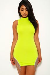 Neon Lime Fringed Sleeveless Party Dress