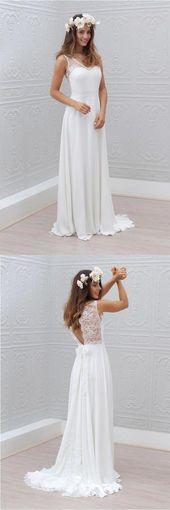 Elegant A-linje Bowknot Chiffong öppen rygg V-ringad spets ärmlös vit brudklänning
