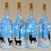 Hirsch bemalt Weihnachten WeinFlasche mit Lichtern