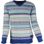 Round neck sweater with jacquard knit pattern, white-teal Carlo ColucciCarlo Colucci
