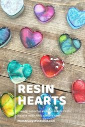 How To Make Colorful Alcohol Ink in Resin Hearts | Epoxy Craft Idea  – Valentine's Day DIY