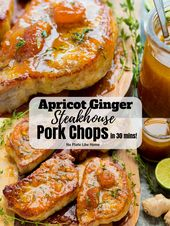 Enjoy steakhouse pork chops at home with these delicious Easy Apricot Ginger Ste…