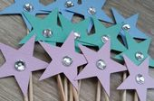 Baby Showers Twinkle Star Cupcake topper Star with diamante - 24 Pink, blue and mint star toppers, bridal shower, baby sh