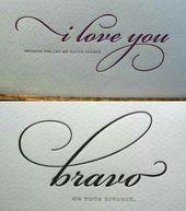 Script type – I love you – brave – kalligraphie