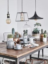 Industrial Style! Metal hanging lamps bring a rustic loft feeling into the …