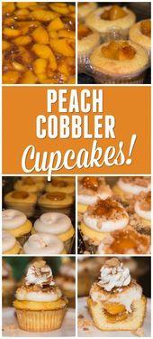 Vanille-Buttermilch-Cupcakes, gefüllt mit einem Pfirsichkompott mit …