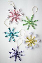 Wie Eis am Stiel Stick Schneeflocke Ornamente mach…