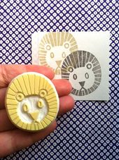 Lion rubber stamp | safari animal stamp | savanna animal stamp | hand carved stamp for diy, card making, fabric printing | gift for kids