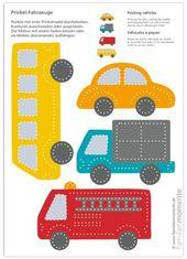 Fahrzeuge zum Kribbeln eines Mobilbogens mit vier Fahrzeugen (Bus, Auto, …   – Kinder ideen