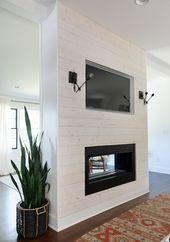 DIY Modern Shiplap Fireplace Featuring Beach Wood Appearance Boards