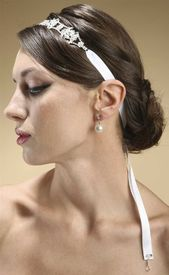 Mariell vintage crystal bridal halo headband wedding hair accessories bride white ribbon