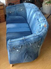 A sofa made of jeans