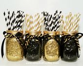 Graduation Party Decorations, Engagement Party Decor, Graduation Centerpiece, Black and Gold Party Decor, Wedding Decor, Glitter, Set of 3