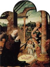 Joos van Cleve – The Nativity, early 1520s, 74.7 x 54 cm, Oil on oak, Kunsthisto…