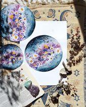 Blume, Planeten, Mond Kunst, Luna