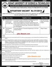 Jobs available in Kohat University of Science and Technology advertised 07-01-18