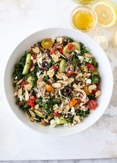 Mediterranean Kale Quinoa Salad with Chicken. (How Sweet It Is)