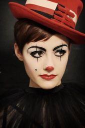 Clown Make-up, leichte Frau, Nase und Lippen verkleiden sich … #Karneval   – Fantasy Kostüme Ideen