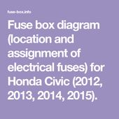 [TBQL_4184]  Fuse box diagram (location and assignment of electrical fuses) for Honda  Civic (2012, 2013, 2014, 2015). in 2020 | Fuse box, Honda civic 2012, Honda  civic | 2015 Honda Fuse Diagram |  | Pinterest