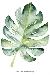 Monstera Botanical bedruckbar in Aquarell. Digitaler Kunstdruck als großes Poster