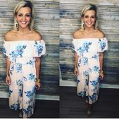 Blush #and #blue #floral #romper #with #tie!
