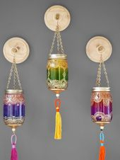Moroccan Handmade Boho-Chic-Wand-Dekor 3 Einmachglas Dekor hängenden von LITdecor