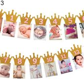 BABY PHOTO BANNER – 12 Months Picture Garland, Baby First Year Frame, Nursery Banner Photo Frame, Birthday Party Monthly Photo Banner – 2 года