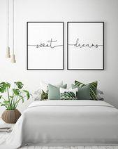 Über dem Bett Kunst – süße Träume – druckbare Kunst (2er-Set), Schlafzimmer Dekor, skandinavi…