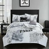 Details about Full Queen King Bed Black White Paris French Eiffel Postcard 5 pc Comforter Set