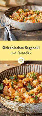 Griechisches Saganaki mit Garnelen
