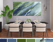 Large wall art, Olive green blue home decor, Abstract painting – canvas print, Wide, Panoramic, Office decor, Bedroom, Living room, Dining