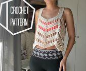 Lace Crochet Top Pattern, Crochet Coverup Pattern, Boho Crochet Cover Up Pattern, Loose Crop Top Pattern, Boho Beach Coverup Pattern, Easy