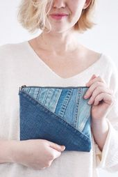 Small Denim clutch – upcycled/ cosmetic toiletry / essential things