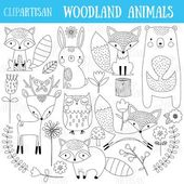 Woodland Animals Clip Art, Forest Animals Coloring…