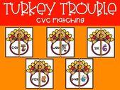 Turkey Trouble CVC Matching – Literacy & Math Centers