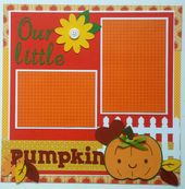 Scrapbook page – Premade scrapbook page – Fall scrapbook page – Scrapbook page for baby – Scrapbook layout – Autumn scrapbook – Pumpkin  – Baby