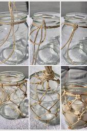 DIY: Makramee Sommerdeko/ Weckglas mit Fischernetz als Windlicht oder Vase