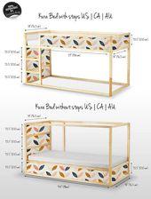 Model scandinave Kura lit, Ikea, modèle Sticker Set, PACK de 5, Children room decor, auto adhésif, Repositionable, bâche, autocollant #15Ok