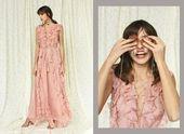 Ruffle dress. Maxi dress. Evening dress. silk chiffon dress. long cocktail dress. Romantic dress