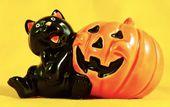 Details zu HAPPY HALLOWEEN! 1950er Jahre Retro schwarze Katze Kürbis Figur Vintage Norcrest – selten