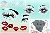 Eyelashes Lashes Eyes Eyebrow Lips Bundle SVG